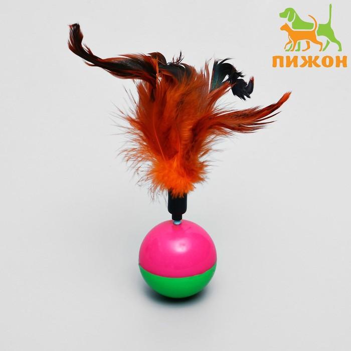 Игрушка-неваляшка для кошек с перьями, микс цветов