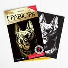 Гравюра «Собака» с металлическим эффектом золота А5