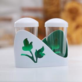 Набор для специй Viola, 100 мл, 2 шт: солонка и перечница, цвет зелёный
