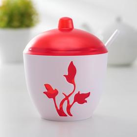 Сахарница с ложкой Viola, цвет красный
