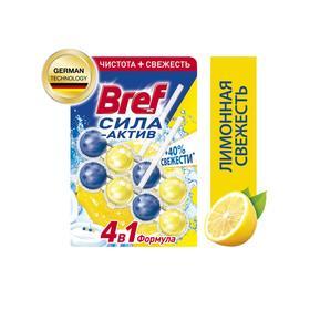 Блок для чистки и свежести унитаза 4 в 1 Bref Сила актив «Лимонная свежесть», 2 х 50 г