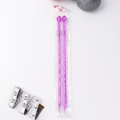 Спицы для вязания, прямые, d = 10 мм, 35 см, 2 шт, цвет МИКС - Фото 1