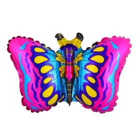 """Шар фольгированный 12"""" «Бабочка» для палочки, цвет малиновый"""