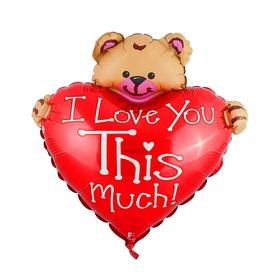 """Шар фольгированный 12"""" «Сердце с мишкой» для палочки, I Love You"""