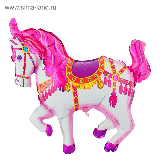 """Шар фольгированный 12"""" """"Лошадь цирковая"""" для палочки, цвет розовый"""