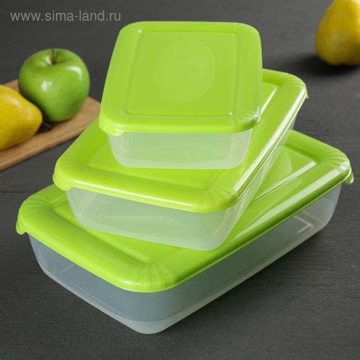 Набор контейнеров пищевых Plast team Polar, 3 шт: 900 мл; 1,9 л; 3 л, цвет МИКС