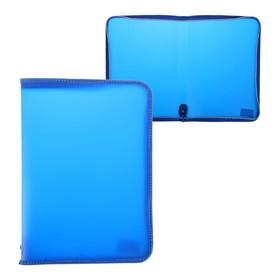 Папка пластиковая А4, молния вокруг, «Офис», цветная, текстура поверхности «песок», ПМ-А4-11, синяя Ош