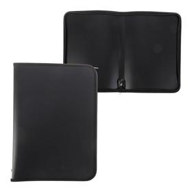 Папка пластиковая А4, молния вокруг, «Офис», цветная, текстура поверхности «песок», ПМ-А4-11, чёрная Ош
