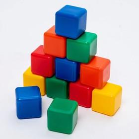 Набор цветных кубиков, 12 штук, 4 х 4 см Ош