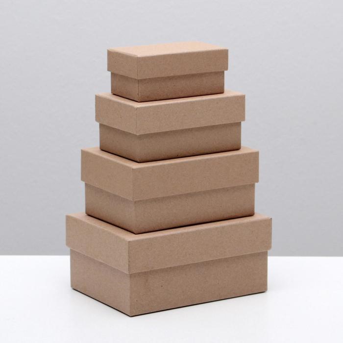 Набор коробок 4 в 1 Крафт однотонный, 15 х 11 х 7 - 9 х 5 х 4 см