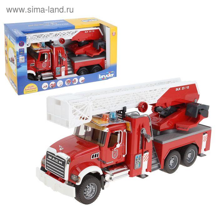 Пожарная машина MACK, с выдвижной лестницей, помпой с модулем, светом и звуком