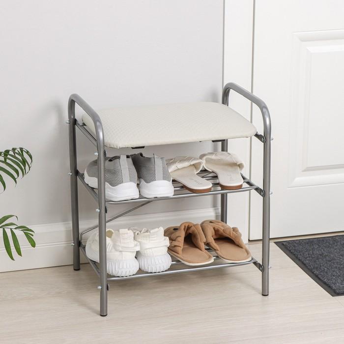 Банкетка для обуви 44×33×50 см, мягкое сиденье, цвет серый