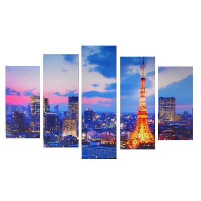 """Картина модульная на подрамнике """"Ночной Париж"""" 2-25х52, 2-25х66,5, 1-25х80 см, 80*140 см"""