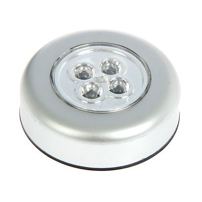 Светильник-пушлайт PL-4led-silv серебро 1,5Вт 3ААА 7см - Фото 1