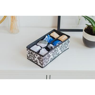 Органайзер для белья «Вензель», 8 ячеек, 28×14×10 см, цвет чёрно-белый