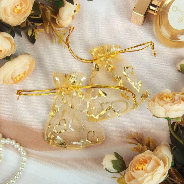 Мешочек подарочный Сердечки 79, цвет золотой