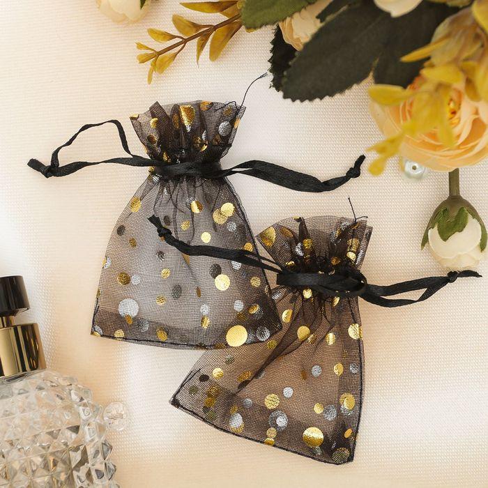 Мешочек подарочный Пузырьки 79, цвет чёрно-золотой