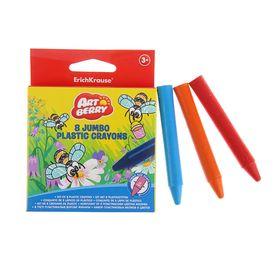 Мелки пластиковые 8 цветов Artberry Jumbo, круглые с утолщённым корпусом, диаметром 12 мм, европодвес, МИКС