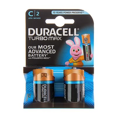 Батарейка алкалиновая Duracell Turbo Max, С, LR14-2BL, 1.5В, блистер, 2 шт.