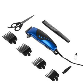 Машинка для стрижки волос Irit IR-3309, 10 Вт, 220 В, 4 насадки, синяя Ош