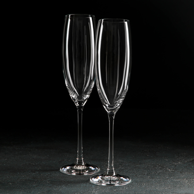 Набор бокалов для шампанского Bohemia Crystal «Грандиосо», 230 мл, 2 шт - Фото 1