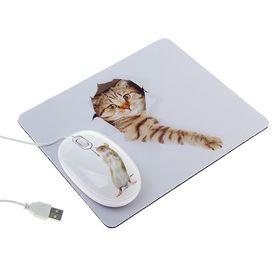 Мышь CBR Capture, проводная, оптическая, с ковриком, 1200 dpi, USB, белая