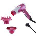 Фен для волос LuazON LF-02, 1600 Вт, 2 скорости, 3 темпер. режима, диффузор, розовый