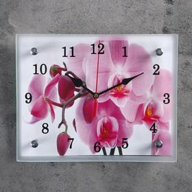 """Часы настенные, серия: Цветы, """"Орхидея"""",20х25  см, микс"""
