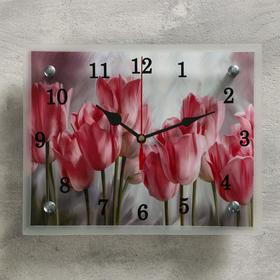 "Часы настенные, серия: Цветы, ""Розовые тюльпаны"", микс 20х25 см"