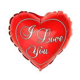"""Шар фольгированный 9"""" I Love You, сердце, цвет красный"""