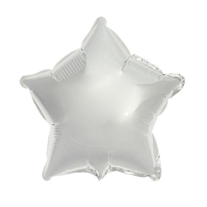 Шар фольгированный 9 Звезда, без рисунка, металл, цвет серебряный