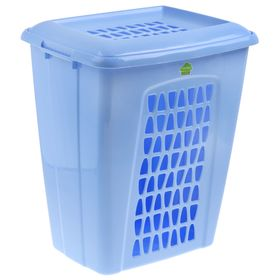 Корзина для белья с крышкой Martika «Молетта», 60 л, 48×37×55 см, цвет синий