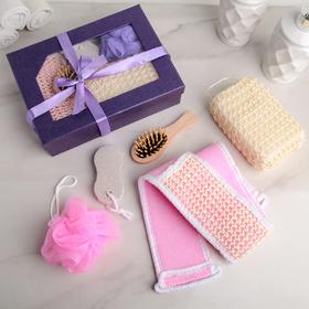 Набор банный 'Подарочный', 5 предметов: 3 мочалки, расчёска, пемза, цвет МИКС Ош