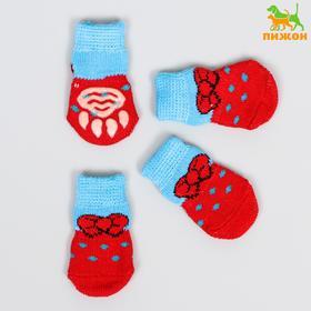 Носки нескользящие 'Бантик', размер S (2,5/3,5 * 6 см), набор 4 шт, красно-голубые 119168 Ош