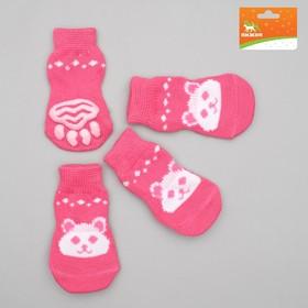Носки нескользящие, размер L (3,5/5 х 8 см), набор 4 шт, микс расцветок для девочки Ош