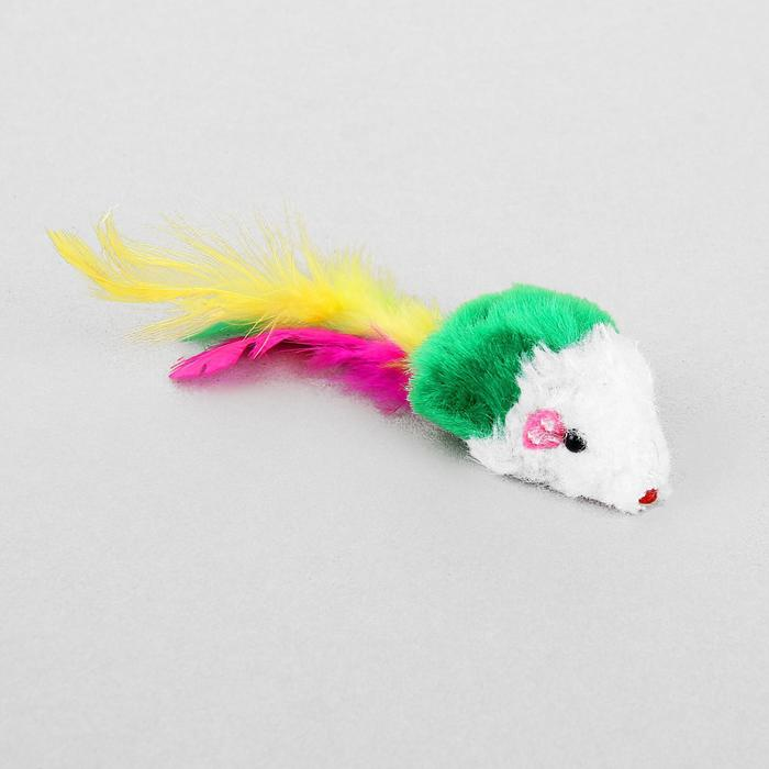 Игрушка для кошек Малая мышь с перьями, микс цветов