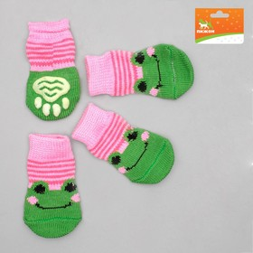 Носки нескользящие, размер M (3/4 х 7 см), набор 4 шт, микс расцветок для девочки Ош