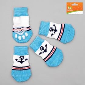 Носки нескользящие, размер  M (3/4 х 7 см), набор 4 шт, микс расцветок для мальчика Ош