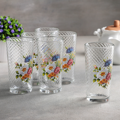 Набор стаканов GiDGLASS «Букетик», 230 мл, высокие, 6 шт