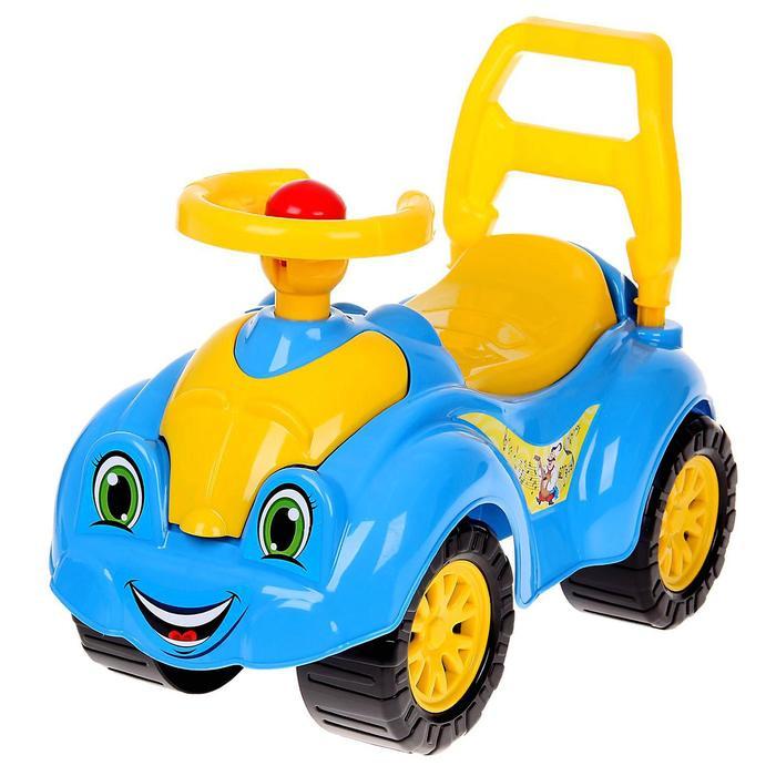 Автомобиль для прогулок (голубой) с гудком-пищалкой