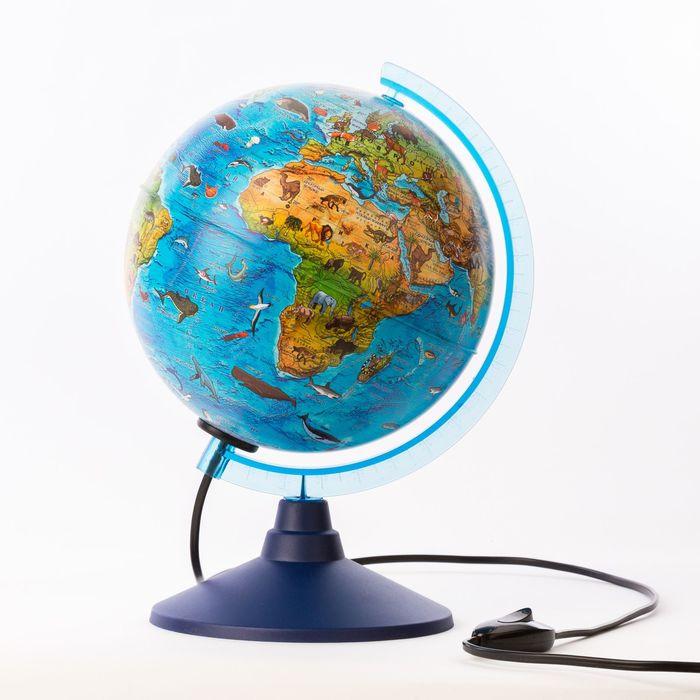 Глoбус зоогеографический детский Классик Евро, диаметр 210 мм, с подсветкой