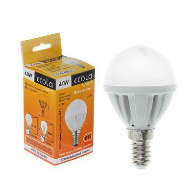 Лампа светодиодная Ecola, G45, 4 Вт, E14, 4000 K, 77х45, дневной белый