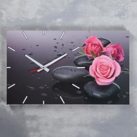 Часы-картина настенные, серия: Цветы, 'Розы на серых камнях', 61х37  см, микс Ош