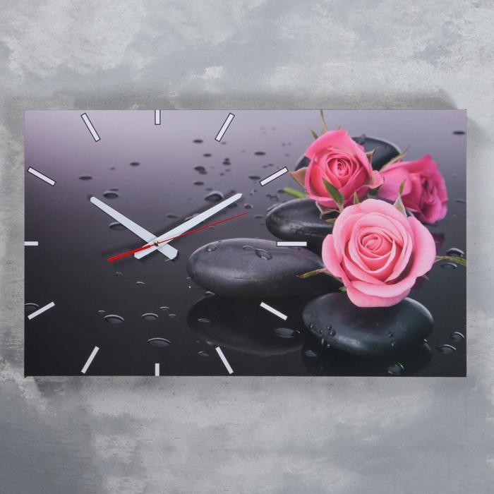 Часы-картина настенные, серия Цветы, Розы на серых камнях, 61х37 см, микс