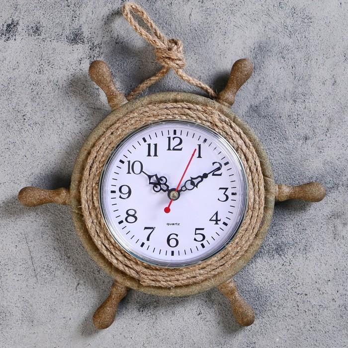Часы настенные Штурвал, d22 см, по кругу канат из бечёвки, коричневые