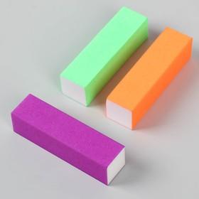 Баф наждачный для ногтей «Неон», четырёхсторонний, 9,5 см, цвет розовый