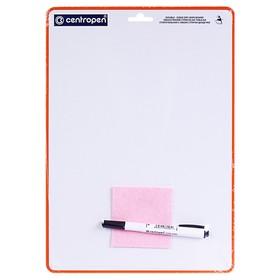 Доска маркерная, A4, двухсторонняя: без рисунка/клетка, с маркером и салфеткой Ош